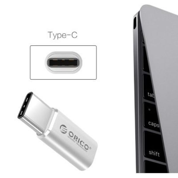 Orico Micro USB naar Type-C Converter Adapter - Aluminium Zilverkleurig
