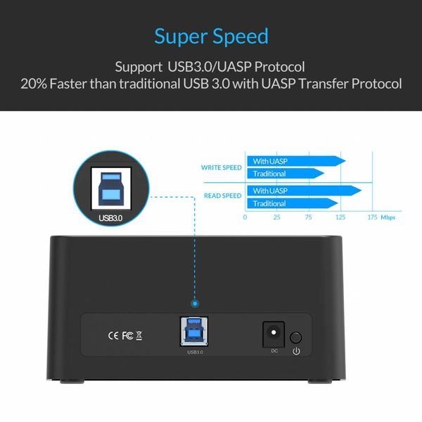 Orico USB 3.0 SATA Docking Station for 2.5 and 3.5 Inch hard drives