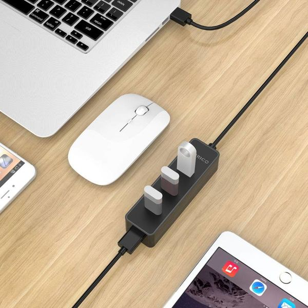 Orico Hub 4 ports USB 3.0 5 Gbps dans la conception moderne et élégant avec 30cm USB 3.0 Black Data Câble