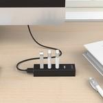 Orico USB 2.0 Hub mit 4 USB-A-Anschlüssen - 20 cm Kabel - mattschwarz