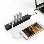 Orico USB 3.0-Hub mit 7 Anschlüssen in mattem Schwarz mit 1 Meter 5 Gbit / s USB 3.0-Datenkabel und zusätzlichem USB-Stromkabel