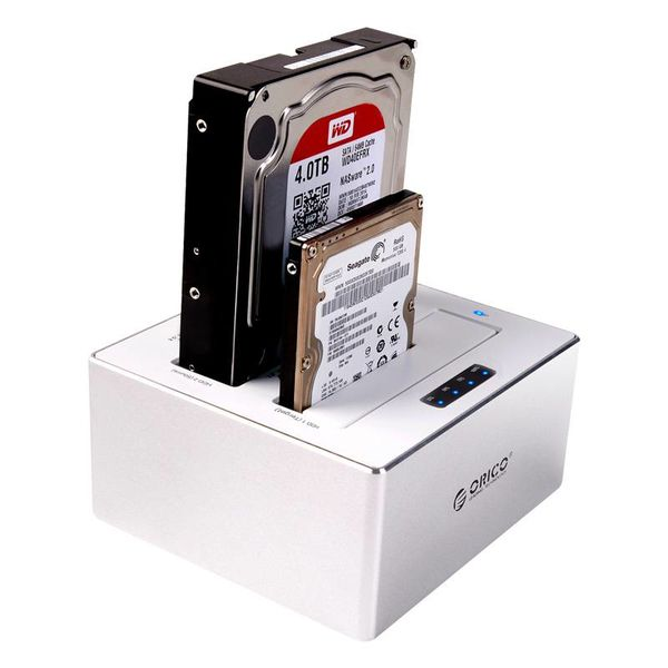 Orico Station d'accueil double baie en aluminium pour 2,5 et 3,5 pouces - HDD / SSD - argent