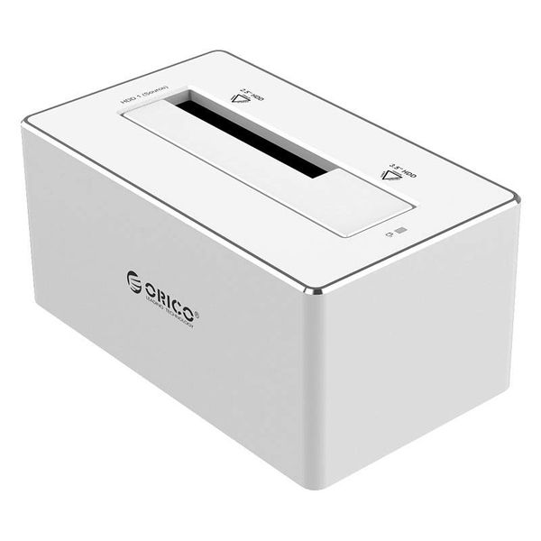 Orico Aluminium Externe Harde Schijf Docking station voor 2.5 & 3.5 inch HDD/SDD USB3.0 - Zilver / wit Mac style