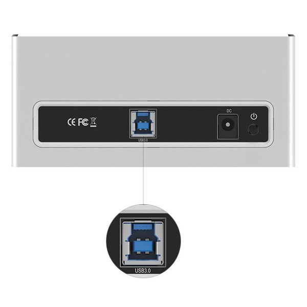 Orico Aluminium External Hard Drive Docking Station für 2,5 und 3,5 Zoll HDD / SDD USB3.0 - Silber / Weiß Mac-Stil