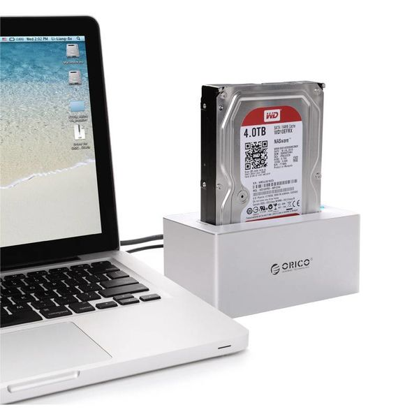 Orico Aluminum External Hard Drive Docking station for 2.5 & 3.5 inch HDD / SDD USB3.0 - Silver / white Mac style