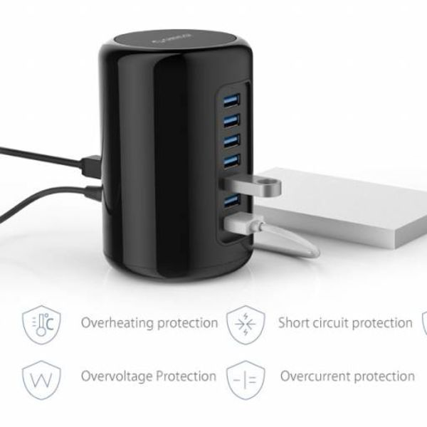 Orico USB Tower HUB with 7 USB3.0 Ports 1 Meter USB3.0 Cable - Black