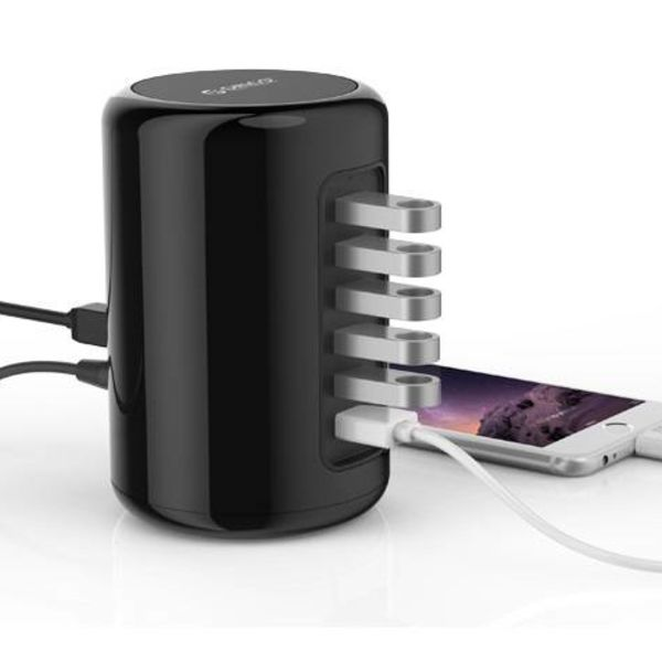 Orico 4 poorts USB 3.0 Tower Hub met 2x Smart Charger Oplader incl 1m USB 3.0 kabel - zwart
