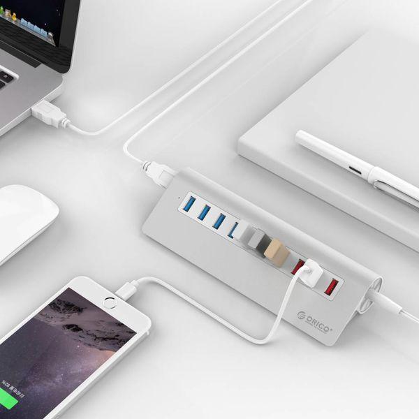Orico Alu. Gates 7 USB 3.0 mit 3 Ladestationen für Smartphone