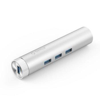 Orico Aluminium USB3.0 Hub mit 3 Typ-A-Anschlüssen 1 Ethernet-Anschluss - Silber