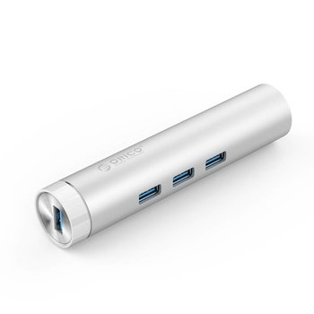 Orico Aluminum USB3.0 hub with 3 type-A ports 1 Ethernet port - Silver