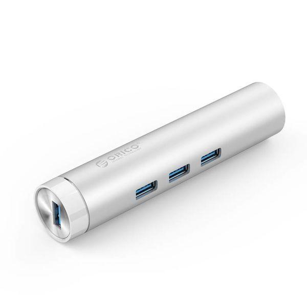 Orico Aluminium USB3.0 Hub mit 3 Typ-A-Anschlüssen 1 Ethernet-Anschluss - Typ-C und Typ-A - 5 Gbit / s - 10/100 / 1000 Mbit / s - RTL-Controller - Silber