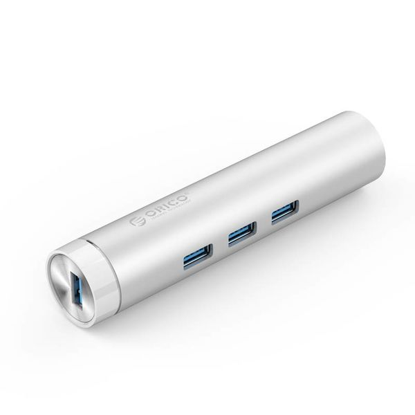 Orico Aluminum USB3.0 hub with 3 type-A ports 1 Ethernet port - Type-C & Type-A - 5Gbps - 10/100 / 1000Mbps - RTL Controller - Silver