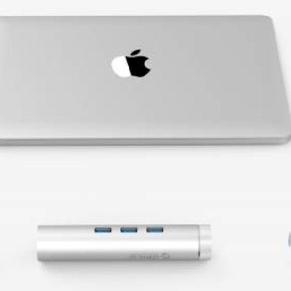 Orico Concentrateur USB3.0 en aluminium avec 3 ports de type A 1 port Ethernet - Type C et Type A - 5 Gbit / s - 10/100 / 1000 Mbit / s - Contrôleur RTL - Argent