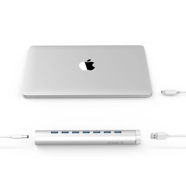 Orico Aluminum USB3.0 Hub with 7 Ports - Compatible with Type-A & Type-C - Incl. Power adapter - Laptop mode - VIA-Chip - 5Gbps - Mac Style - Silver
