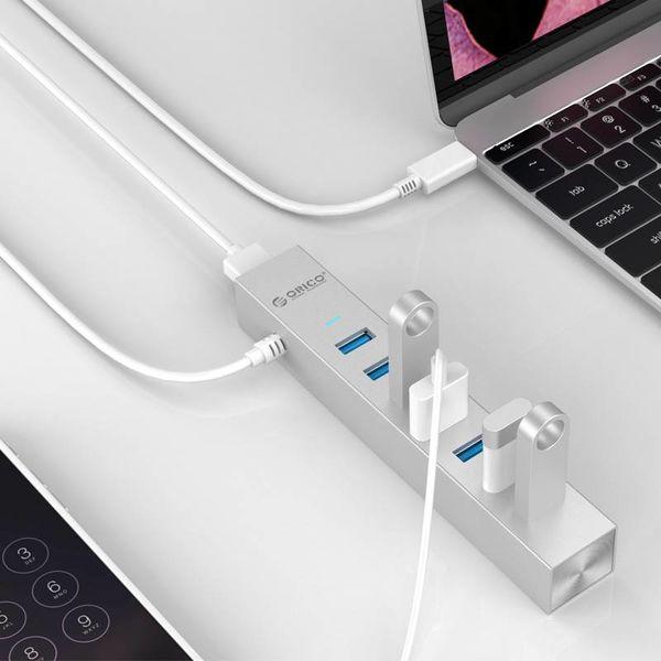 Orico Aluminium USB3.0 Hub mit 7 Typ-A-Anschlüssen - kompatibel mit Typ-A und Typ-C - Inklusive 2 Datenkabeln und 10-W-Netzteil - VIA-Chip - 5 Gbit / s - Silbermetallic