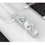 Orico Aluminum USB3.0 hub with 7 type-A ports - compatible with Type-A and Type-C - Includes 2 data cables & 10W power adapter - VIA chip - 5Gbps - Silver Metallic