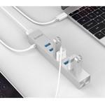 Orico Concentrateur USB3.0 en aluminium avec 7 ports de type A - compatible avec les types A et C - 2 câbles de données et adaptateur secteur 10 W inclus - Puce VIA - 5 Gbit / s - Argent métallisé