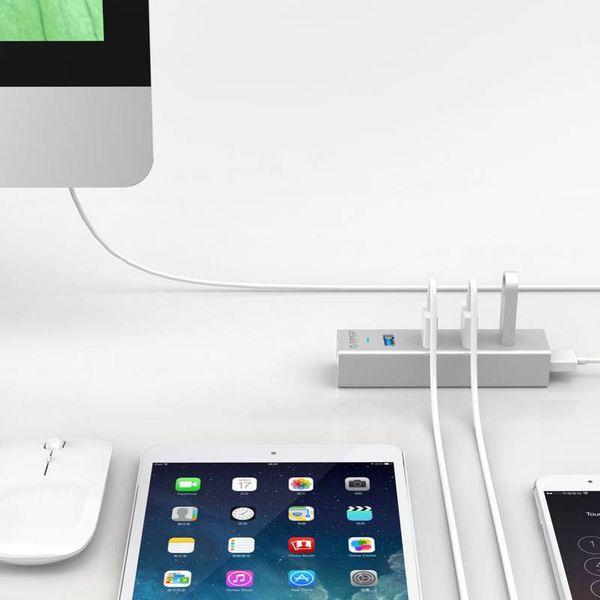Orico Aluminium USB3.0 Hub met 4 type-A Poorten voor Windows XP/Vista/7/8/10, Linux en Mac OS - 5Gbps - VIA-chip - Zilver