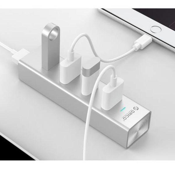 Orico Aluminium USB3.0-Hub mit vier Typ-A-Ports für Windows XP / Vista / 7/8/10, Linux und Mac OS - 5 Gbps - VIA-Chip - Silber