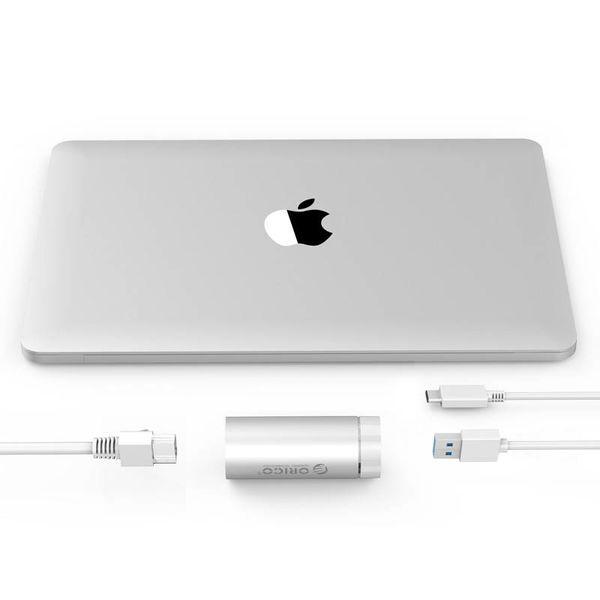 Orico Aluminium SuperSpeed USB3.0 naar Gigabit Ethernet Adapter - incl. USB3.0 type-A naar type-A/C kabel - 10/100/1000Mbps - Zilver Metallic