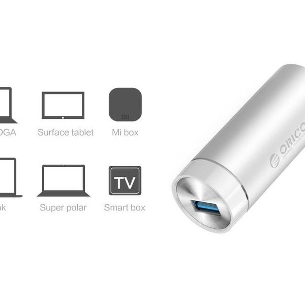 Orico Aluminium Superspeed USB 3.0 auf Gigabit-Ethernet-Adapter - inkl. USB 3.0 Typ A auf Typ-A / C-Kabel - 10/100 / 1000 Mbps - Silber Metallic