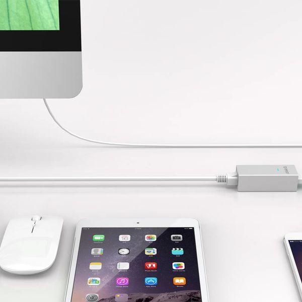Orico Aluminium USB3.0 auf Gigabit Ethernet Adapter - Typ-A Typ-A / C-Typ-Kabel - Silber