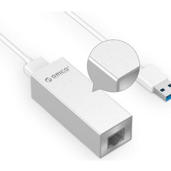 Orico adaptateur aluminium USB3.0 vers gigabit ethernet - câble type A vers type A / type C - argent