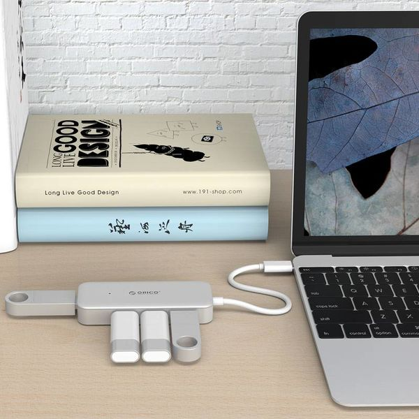 Orico Typ-C USB3.0 Hub mit 4 Ports Typ A - 5 Gbps - VIA Chip - Kabellänge 15 cm - Silber