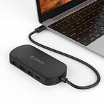 Orico Typ C Hub mit 3 USB-A und 1x USB-C - Integriertes Kabel - schwarz