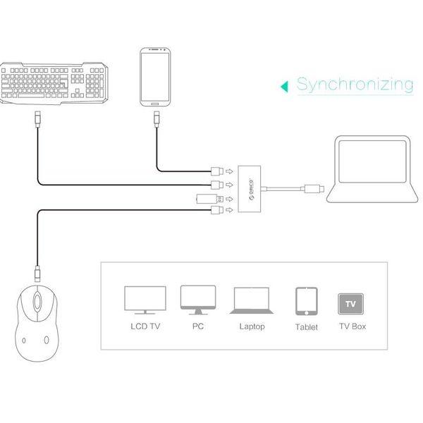 Orico Type-C hub met 3 USB-A en 1x USB-C - Geïntegreerde kabel - zwart