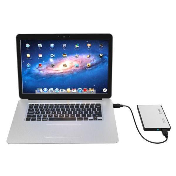 Orico Festplattengehäuse 2,5 Zoll / Metall und Kunststoff / HDD / SSD / USB3.0 / Silber