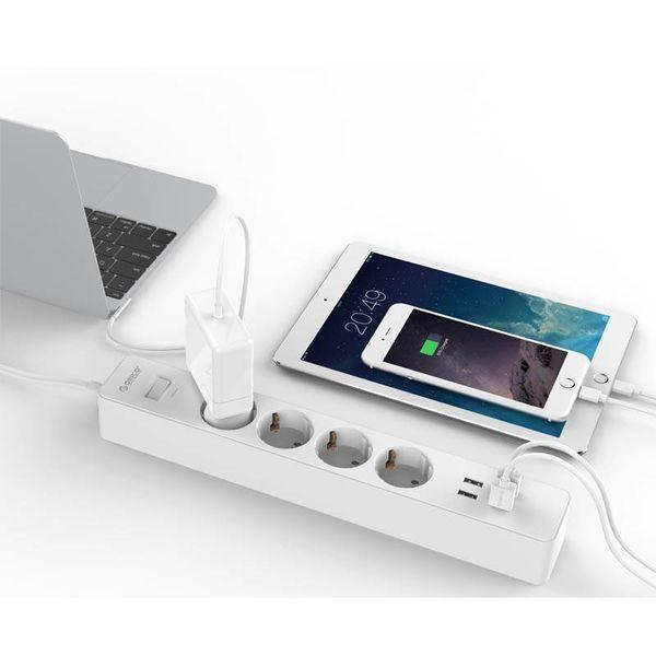 Orico protection multiprise électrique et surtension 2500W / 20W câble USB 1.5m et mis à la terre Childproof