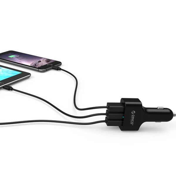Orico Car charger with 3 ports - Quick Charge 2.0- Black