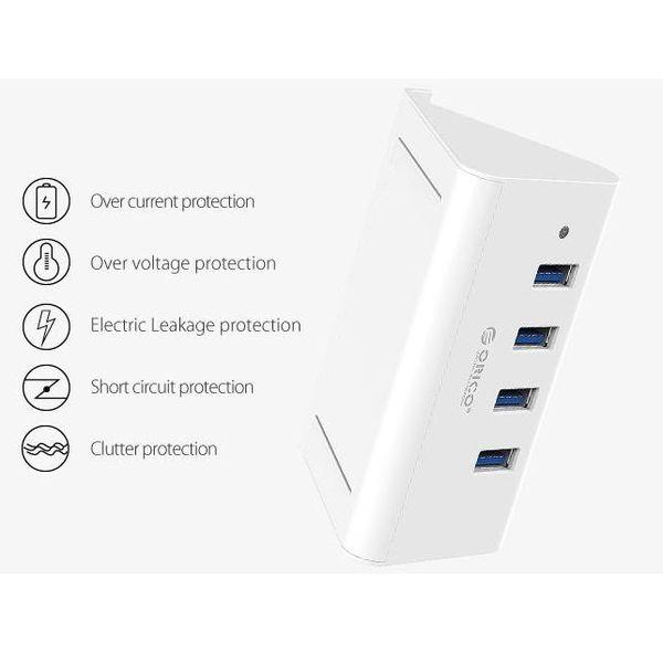 Orico USB3.0 Hub / Telefon und Tablet-Halter - 4x USB - Weiß
