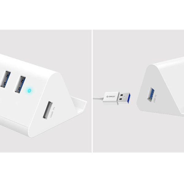 Orico USB3.0 hub / telefoon en tablet houder - 4x USB - Wit