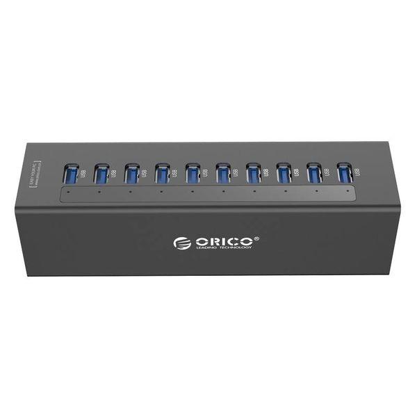 Orico Hub USB 3.0 avec 7 ports - avec adaptateur secteur 12V - Incl. Indicateurs LED - Noir