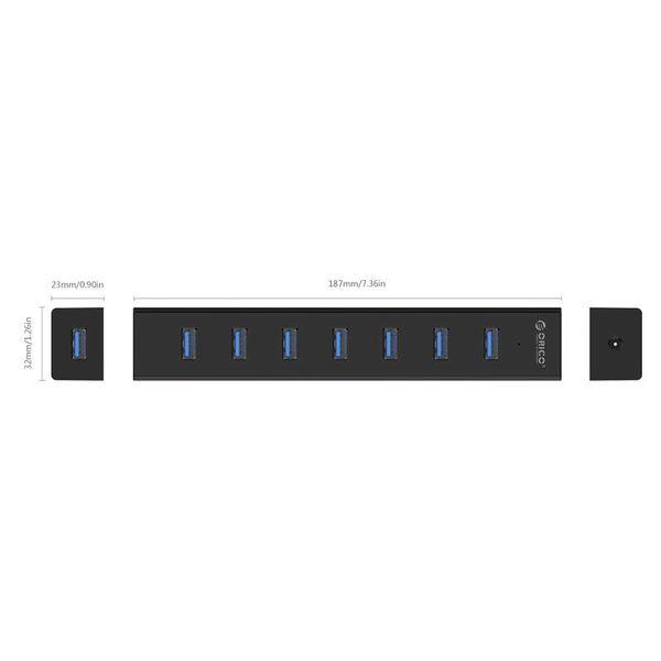 Orico Mat zwarte USB 3.0 hub met 7 poort en stroomadapter 5Gbps USB 3.0 datakabel