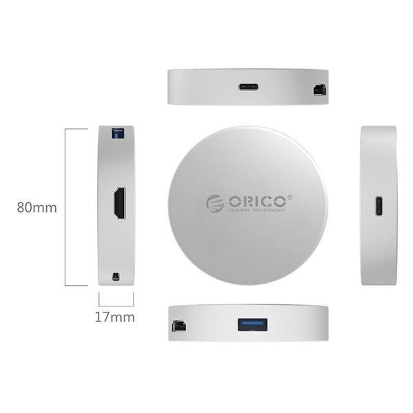 Orico USB Type C to HDMI converter with 1x USB Type C and 1x USB 3.0 hub