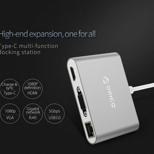 Orico aluminum USB type-C hub with VGA, HDMI, ethernet and USB3.0 type A and C connections - silver