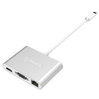 Orico concentrateur USB en aluminium de type C avec connexions VGA, HDMI, Ethernet et USB3.0 de type A et C