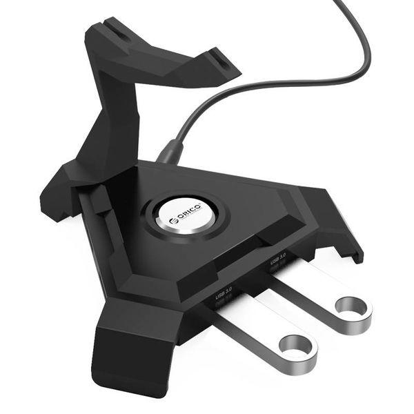 Orico Support de câble pour souris / USB 3.0 Hub - 4x Type ports USB 3.0 A - 1x Charge intelligente port de charge 2.4A - Management - Pour les jeux, bureau organisé, etc. - Noir