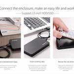 Orico Boîtier pour disque dur 2,5 pouces - HDD / SSD - USB3.0 - 5Gbps - UASP - plastique ABS - Noir
