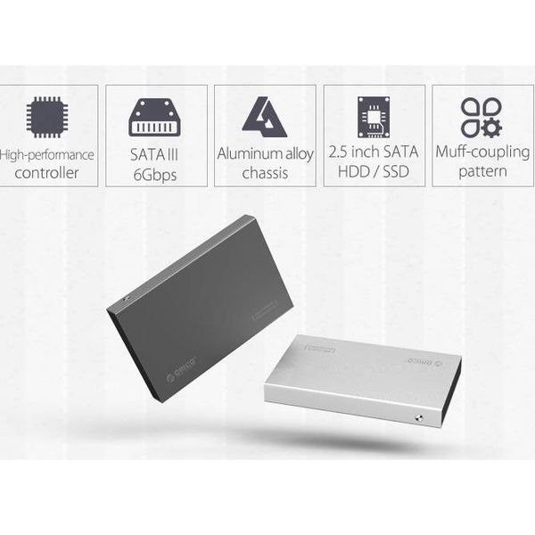 Orico 2.5 inch hard drive enclosure - aluminum - screws - SSD / HDD - USB3.0 - silver