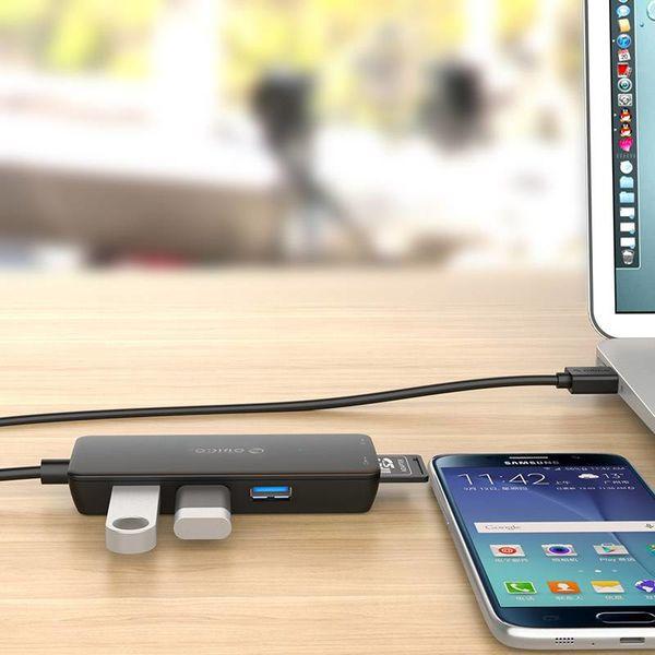Orico USB3.0 Hub met 3 type-A poorten - Kaartlezer SD/MF - Geïntegreerde kabel: 20 cm - Zwart