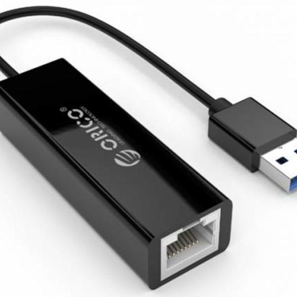 Orico USB 3.0 Type A à un adaptateur Ethernet Gigabit - 10/100 / 1000Mbps - 13CM Câble - Noir