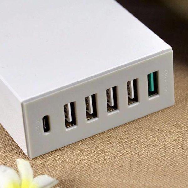 Orico Desktop-Ladegerät mit Quick Charge 2.0 mit 5 USB-Ladeanschlüssen vom Typ A und 1 USB-Ladeanschluss vom Typ C - bis zu 50 W - weiß