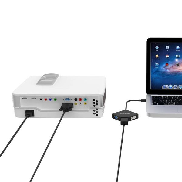 Orico Adaptateur Mini Displayport vers HDMI, DVI et VGA - 4K - 17 cm - Noir