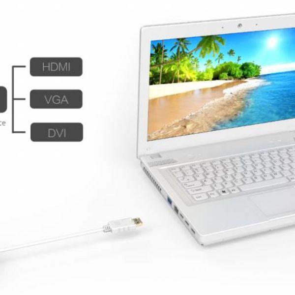 Orico display port to HDMI, DVI and VGA adapter - 17 cm - white