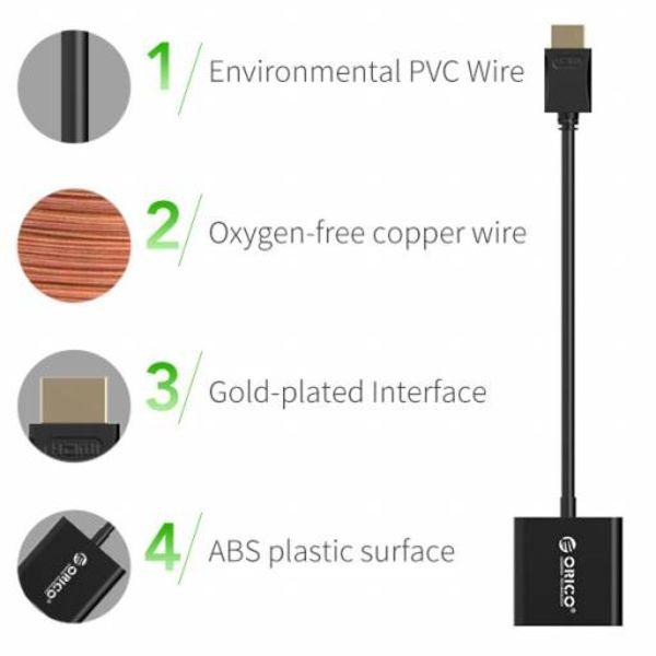 Orico HDMI A naar VGA Adapter - Full HD - Gold-Plated - 17 cm - Zwart