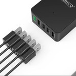 Orico desktop charger with Quick Charge 2.0 with five USB charging ports - 2.4A per port - up to 40W - black
